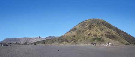 Panoramic view of of Mountain Bromo with Batok moutain, Bromo Tengger Semeru National Park in East Java, Indonesia Banco de Imagens