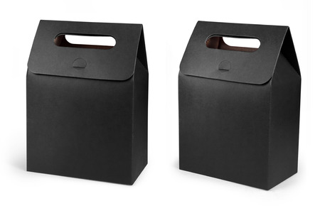 Black Cardboard Carry Box Bag Packaging With Handles For Food, Gift Or Other Products.