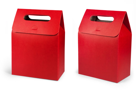 Red Cardboard Carry Box Bag Packaging With Handles For Food, Gift Or Other Products. Banco de Imagens