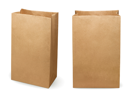 Brown paper bag isolated on white background Banco de Imagens