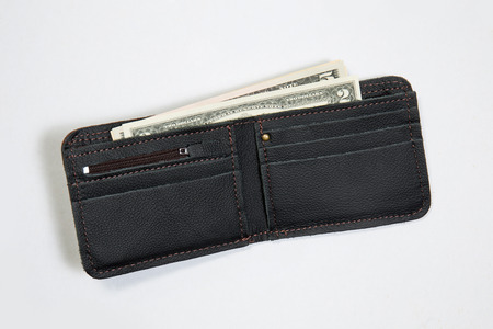 New leather wallet with us dollars on white background Banco de Imagens