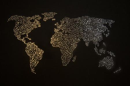 Carte du monde abstrait sur le ciel nocturne
