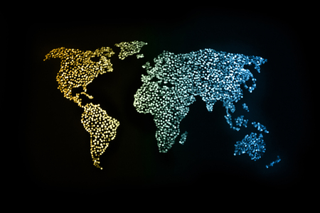 Abstract world map with defocus effect in dark background. Banco de Imagens