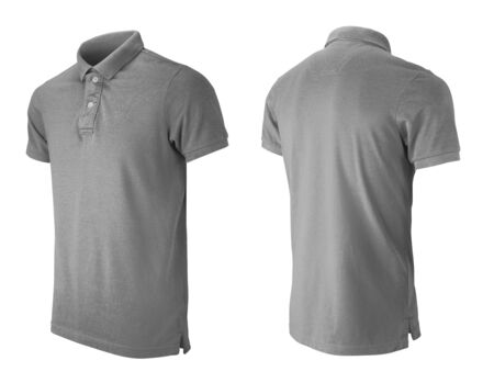Grey polo tshirt design template isolated on white