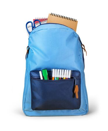 School bag backpack with notebooks isolated on white