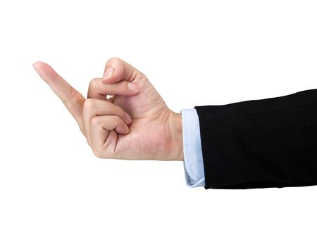 Businessman is showing the middle finger isolated on white