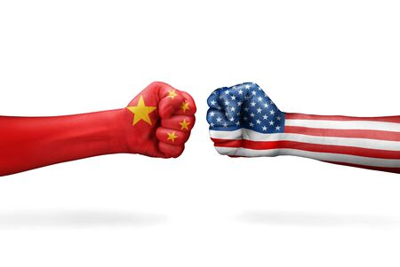 Conflict between USA and China isolated on white background Фото со стока