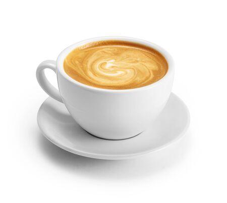 Tasse de café au lait isolé sur fond blanc