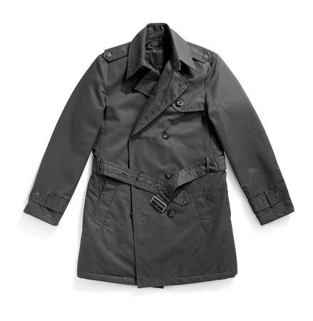 Elegant grey buttoned trenchcoat isolated on white