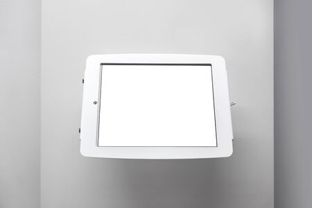 blank tablet information display on wall