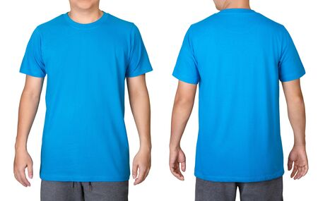 Blue t-shirt on a young man isolated on white background. Front and back view.