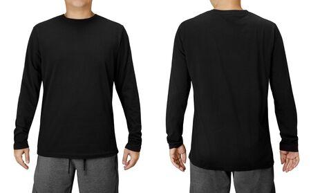 Szablon projektu czarnej koszuli z długimi rękawami na białym tle