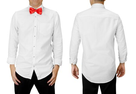 Man wear a red bowtie with white long sleeve shirt, front and back view isolated on white