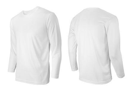 T-shirt bianca a maniche lunghe vista frontale e posteriore isolata su bianco