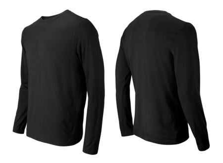 Long sleeve black t-shirt front and back side view isolated on white Stockfoto