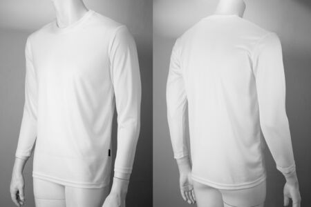 White plain long sleeve cotton T-Shirt on a mannequin with front and back view isolated on white