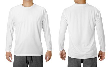 Szablon projektu białej koszuli z długimi rękawami na białym tle
