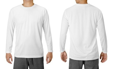 White Long Sleeved Shirt Design Template isolated on white Stock fotó