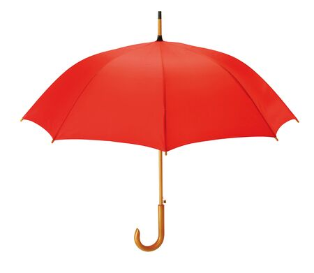 Opened red umbrella isolated on white background