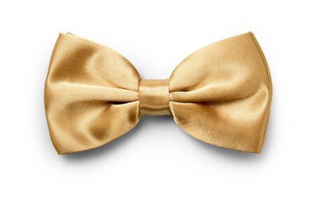Gold color bow tie isolated on white background