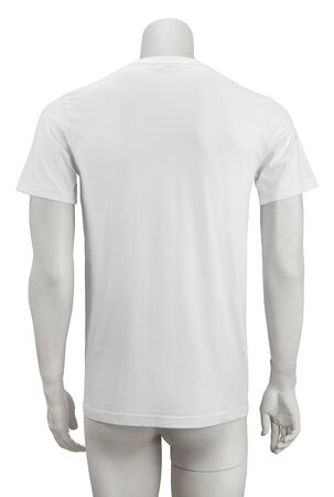 White plain short sleeve cotton T-Shirt on a mannequin isolated on white background