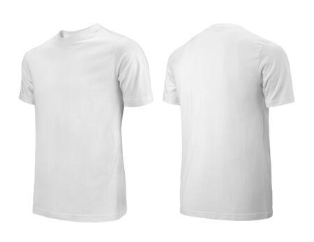 Vista lateral frontal y posterior de camisetas blancas utilizadas como plantilla de diseño.