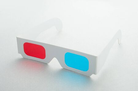 3D glasses on white background Stock Photo