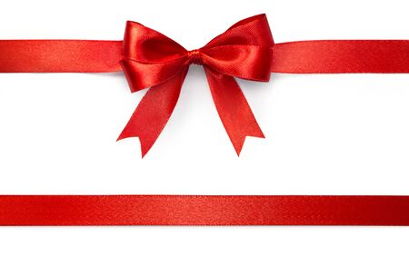 Red ribbon with tails isolated on white background with clipping path