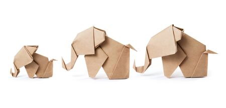 Brown paper elephant family in origami tehnique isolated on white background with clipping path