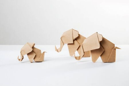 Brown paper elephant family in origami tehnique isolated on white background Stock Photo