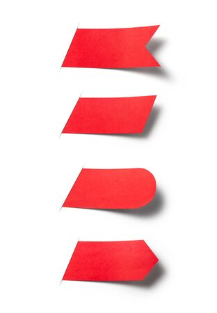 Red paper use as label banner ribbons isolated on white background