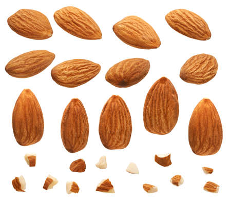 Close up of Almonds nut with pieces isolated on white Banque d'images - 151033325