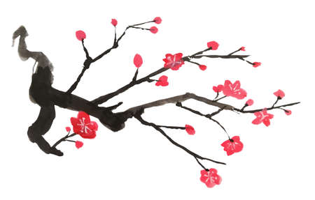 Vector Plum Blossom.Traditional Chinese elements
