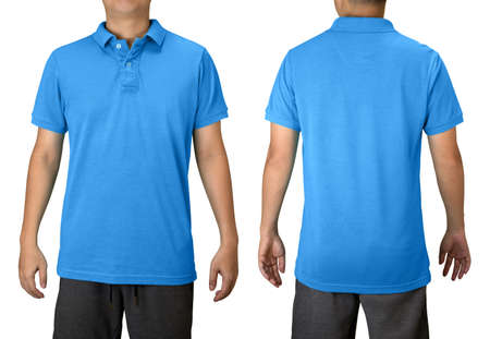 Blue blank polo t shirt on a young man isolated on white background. Front and back view. Stock fotó