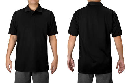 Black blank polo t shirt on a young man isolated on white background. Front and back view with clipping path.