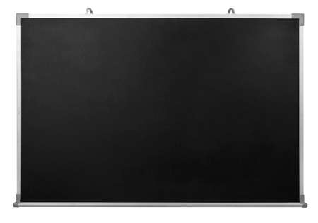 Empty black chalkboard with aluminum frame isolate on white with clipping path Zdjęcie Seryjne