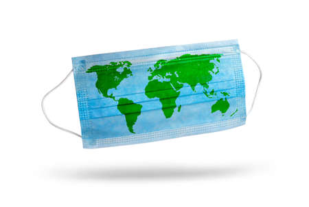 Blue medical disposable face mask with world map isolated on white. Concept of coronavirus quarantine.