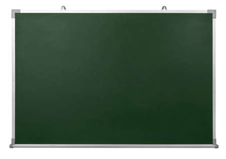 Empty Green chalkboard with aluminum frame isolate on white background Zdjęcie Seryjne