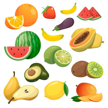 Vector collection of fresh healthy fruits isolated on white