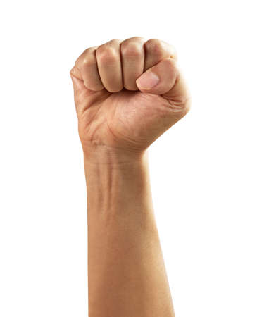 Male clenched fist, isolated on a white background Stockfoto