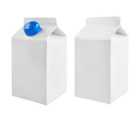 Juice and milk blank white carton boxes with different view isolated on white. Reklamní fotografie