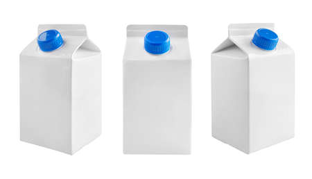 Juice and milk blank white carton boxes with different view isolated on white. Stock fotó