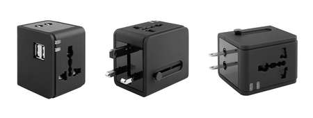 Different views of universal adapter isolated on white with clipping path Reklamní fotografie