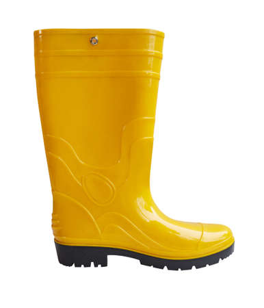 Yellow rubber boots isolated on white Stock fotó