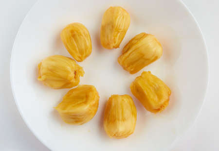 Cempedak or artocarpus interger on white plate. Reklamní fotografie