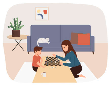 Mother and son playing chess together. family game, weekend, home atmosphere. Flat illustration