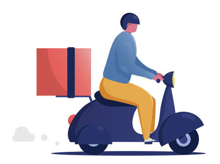Man courier riding scooter with parcel cardboard box. Fast delivery concept isolated flat horizontal copy space vector illustration.