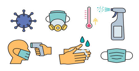 icons with practical tips for the prevention of COVID 19.