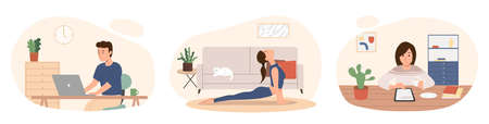 Stay home concept.People working, reading and practicing yoga at their home.