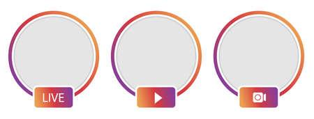 Social media icon avatar. Live video streaming.